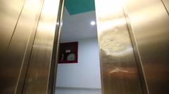 Elevator is arriving and doors open - stock footage