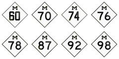 Collection of historic Michigan Route shields used in the United States Stock Illustration