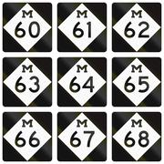 Collection of Michigan Route shields used in the United States Stock Illustration