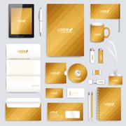 Golden set of vector corporate identity template. Modern business stationery - stock illustration