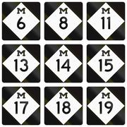 Collection of Michigan Route shields used in the United States - stock illustration