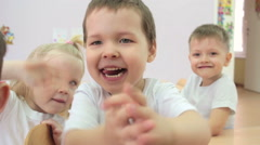 Children laughing and making faces. - stock footage