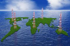 continents with antennas - stock illustration