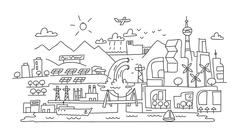 Hand line drawing, futuristic eco city architecture Stock Illustration