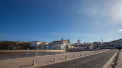 4k Clouds city timelapse central church place Lagos Portugal Stock Footage