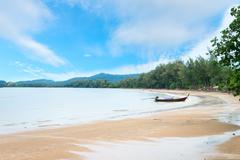 Long boat at Hat Nopparat, Krabi Stock Photos
