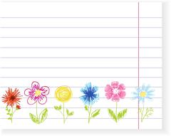 Sketch flowers on exercise book sheet. Vector - stock illustration