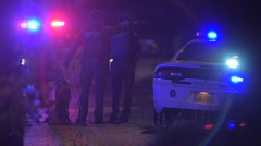 Police And Sheriff With K9 Searching For Crime Suspect At Night Stock Footage