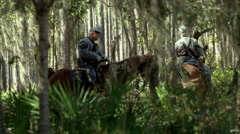 Civil war Collection;  Cavalry troops and officers in woods - stock footage
