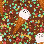 Ice cream cones seamless pattern background with candies and chocolate - stock illustration