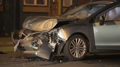 Damaged Front End Of A Vehicle After A Crash Stock Footage