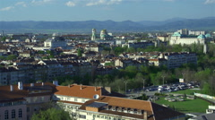 Panoramic view of Sofia from high viewpoint Stock Footage
