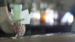 Bartender serves a cocktail bar Stock Footage