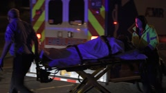 Patient Transported To A Hospital By Ambulance After A Crash - stock footage