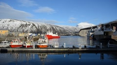 Fishing boat docking in harbour in tromsoe with docked ships Stock Footage