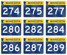 Collection of Minnesota Route shields used in the United States Stock Illustration