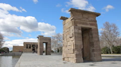 Temple of Debod Ancient Monument in Madrid Stock Footage