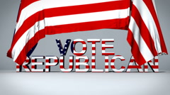 American Flag raises to reveal Vote Republican text - stock footage