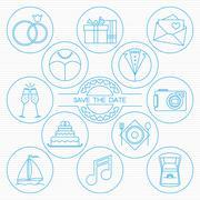 Wedding round thin line icons set - stock illustration