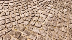 Cubed stones for pavement on the street Stock Footage
