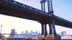 Daylight dolly shot of Manhattan bridge - stock footage
