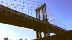 Daylight dolly shot of Manhattan bridge Stock Footage