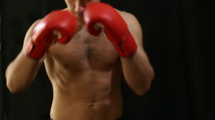 man in red boxing gloves - stock footage