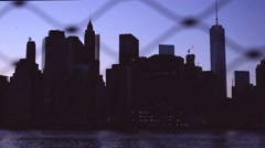 Smooth dolly on the fence with bird flying in New York City - stock footage