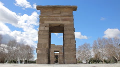 Debod Temple Ancient Monument in Madrid Stock Footage