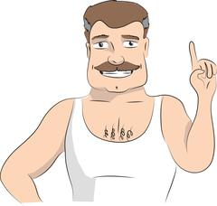 Man making attention gesture with forefinger. Vector illustration on white ba - stock illustration