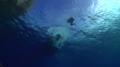Group of scuba divers entry on water surface, HD, UP15346 Stock Footage