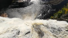 Panning up from the Montmorency Water Falls in Quebec City Stock Footage