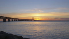 Oresundsbron at sunset. Stock Footage