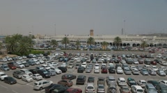 Cars In A Parking Lot At Muscat Airport Stock Footage