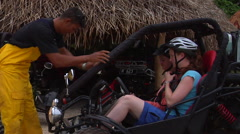 Tongan teaching cart driving to tourists, people or person in shot, HD, UP15493 - stock footage
