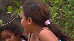 Tongan girl waving to camera, people or person in shot, HD, UP15505 Stock Footage