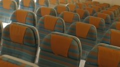 Empty Aircraft Seats Inside The Airplane - stock footage