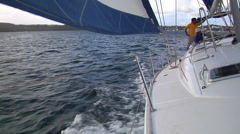 Looking aft from bow, sailing, people or person in shot, HD, UP15600 - stock footage