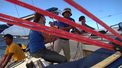 Crew holding lines, sailing, people or person in shot, HD, UP15611 Stock Footage