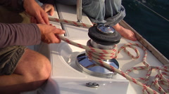 Crew easing sheet in winch, sailing, people or person in shot, HD, UP15612 Stock Footage