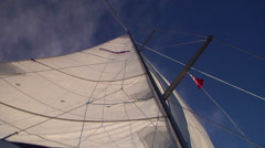 Main sail full, head sail luffing, sailing, HD, UP15618 Stock Footage