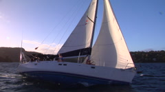 Yacht heeled over, close sailing race, people or person in shot, HD, UP15628 Stock Footage