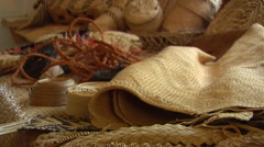 Woven goods at museum, HD, UP15709 Stock Footage