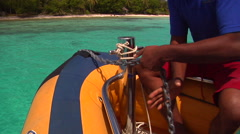 Tongan deckhand lowering anchor, people or person in shot, HD, UP15747 Stock Footage