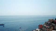 Panoramic view of Riomaggiore city Stock Footage