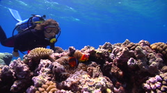 Female model scuba diver swimming on very shallow reef and surface with Fiji Stock Footage