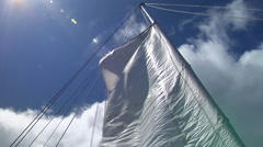 Gaff rig sail hoisted, HD, UP15786 Stock Footage