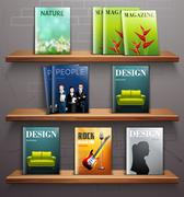 Magazines On Shelves Stock Illustration