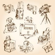 Sketch Photo Set Stock Illustration