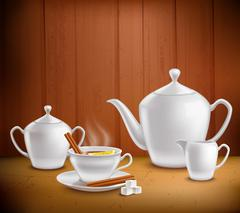 Tea Set Composition Stock Illustration